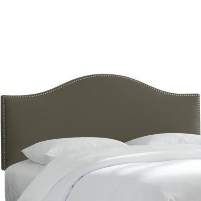 Nail Button Velvet Upholstered Headboard Pewter, Size: California King - 914-VELVT-PEWTER
