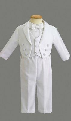 Boys Baptism-Christening Tuxedo Style JEFFREY- Long Sleeved Tuxedo with Pique Vest