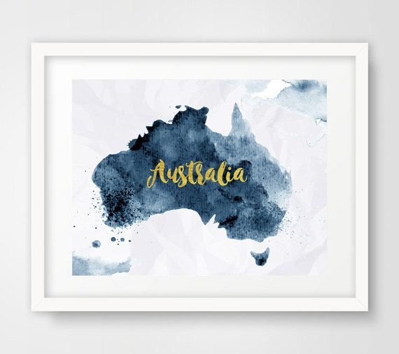 Shades Of Blue By Sarmite On Etsy Australia Map Australien