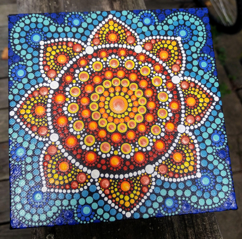 Hand painted dotted mandala 6x6 canvas | Kerri's Rocks and
