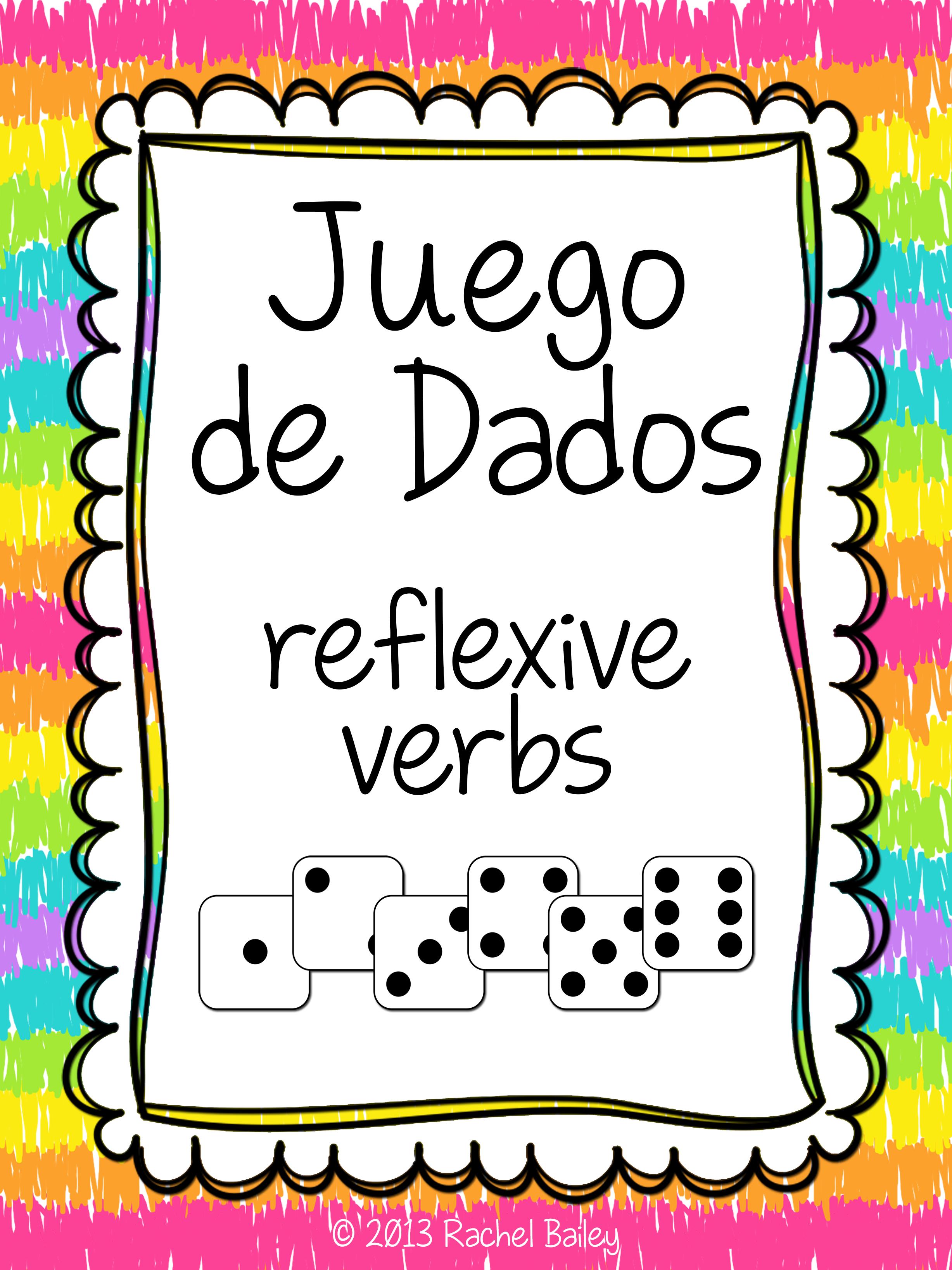 Spanish Reflexive Verbs Conjugation Dice Activity Teaching Spanish Elementary Spanish Spanish Adjectives [ 3273 x 2455 Pixel ]