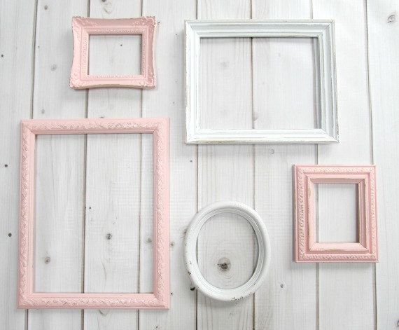 Pink and White Frame Group, Baby Nursery Frames, Open Back, Shabby ...
