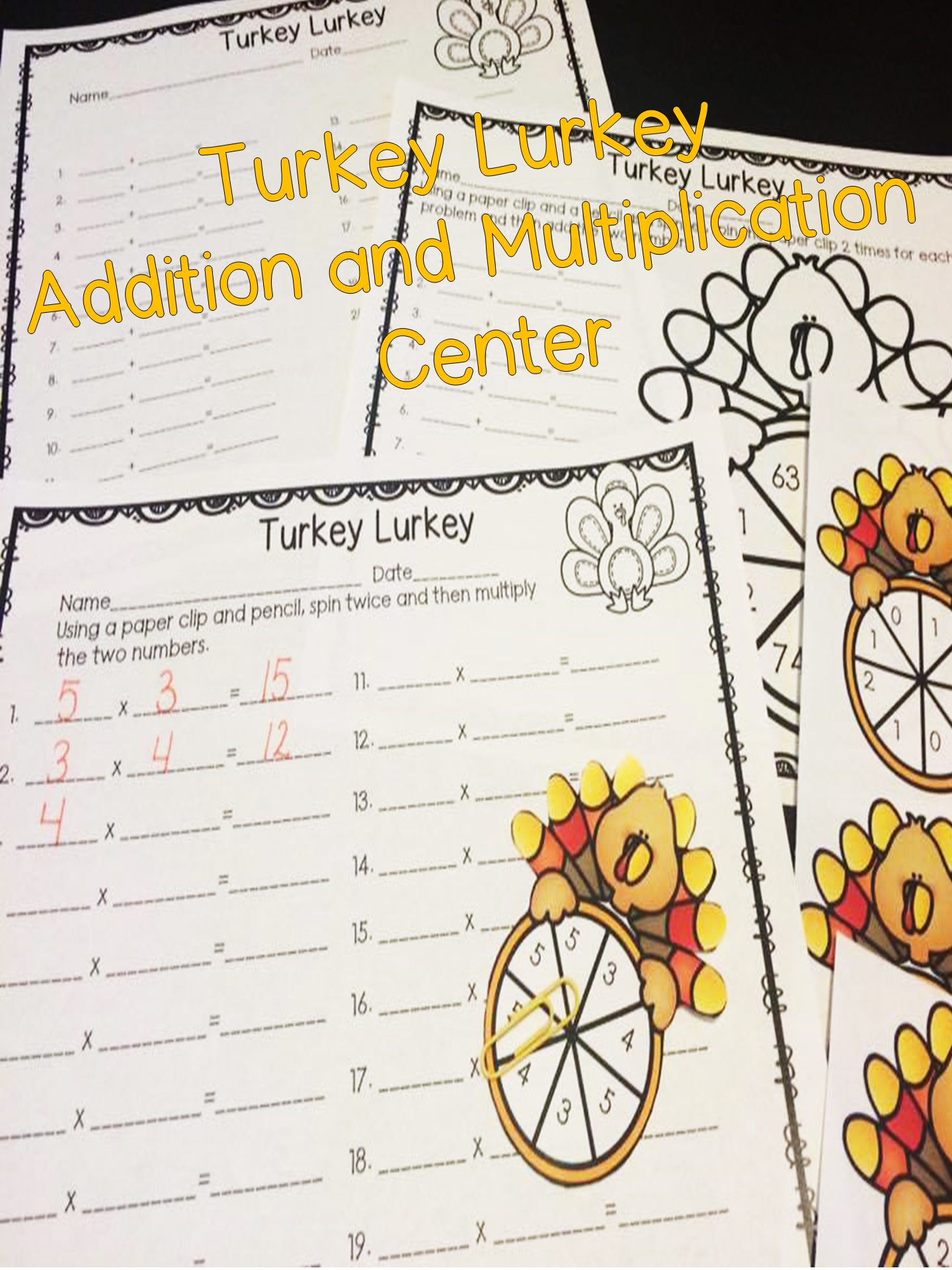 Addition And Multiplication Spinner Center