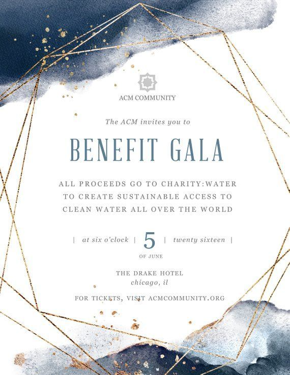 DIY Printable Gala Benefit Dinner Event Flyer Template for Microsoft Word and Photoshop Fundraising Dinner Geometric Flyer