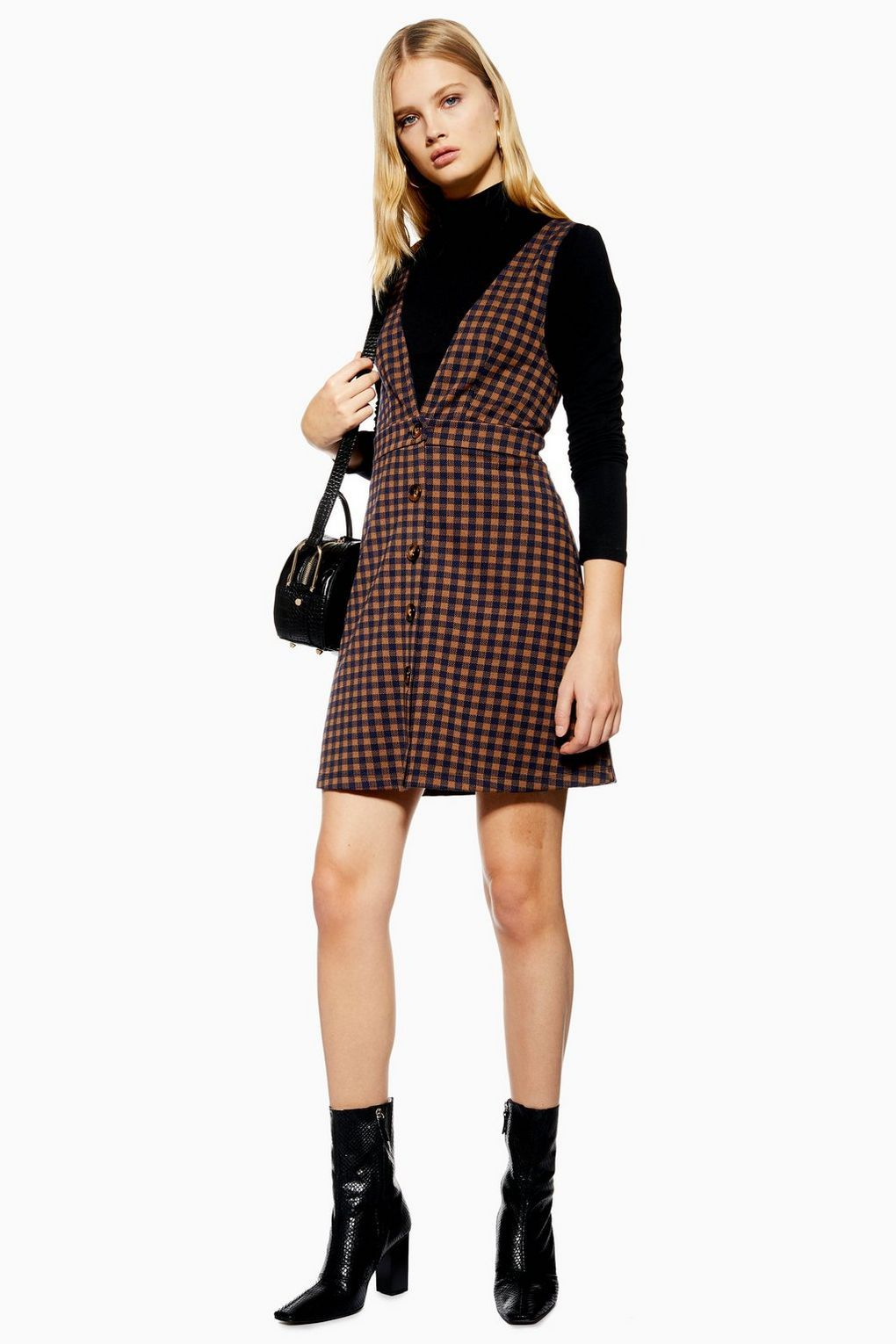 f1aa4a10be12 Check Button Pinafore Dress - New In Dresses - New In - Topshop Check Pinafore  Dress
