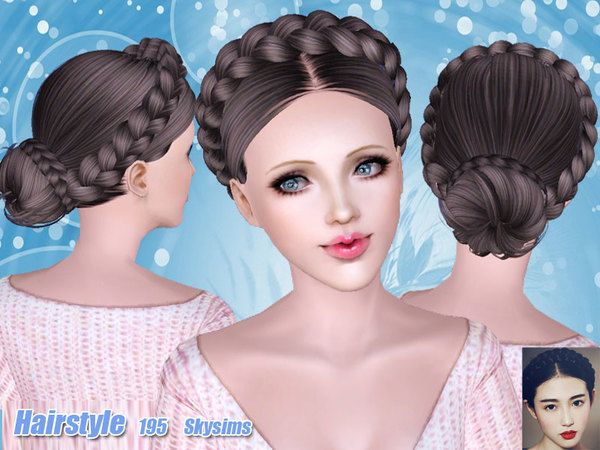 The Sims Resource Tsr Braided Bun Hair 195 By Skysims Sims 3 Downloads Cc Caboodle Sims Hair Victorian Hairstyles Bun Hairstyles