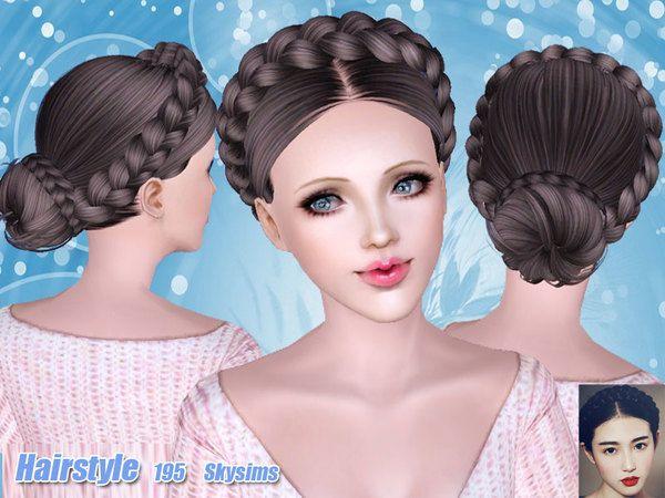 Hairstyles Braids Download: Braided Bun Hair 195 By Skysims