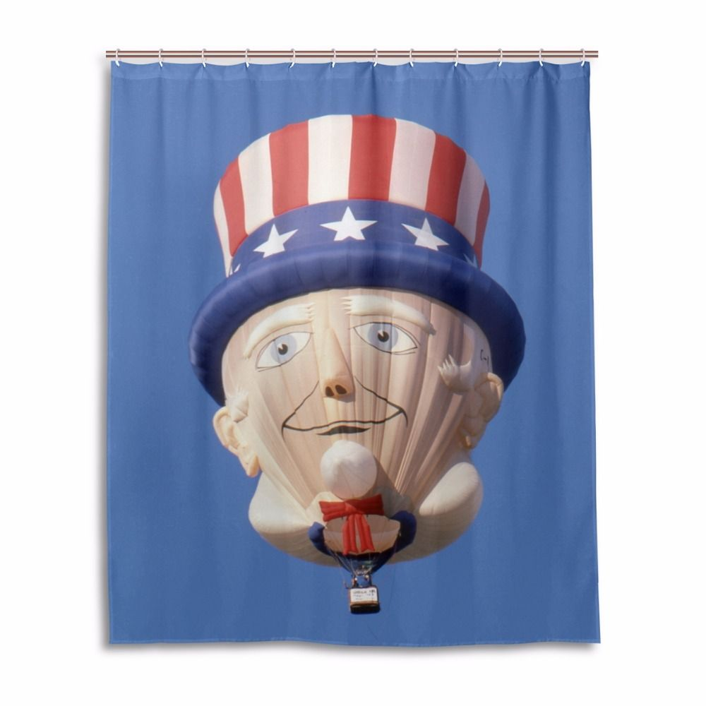 Bathroom Hot Air Balloon Shower Curtain And Hooks 60x72 Inch Mildew ...