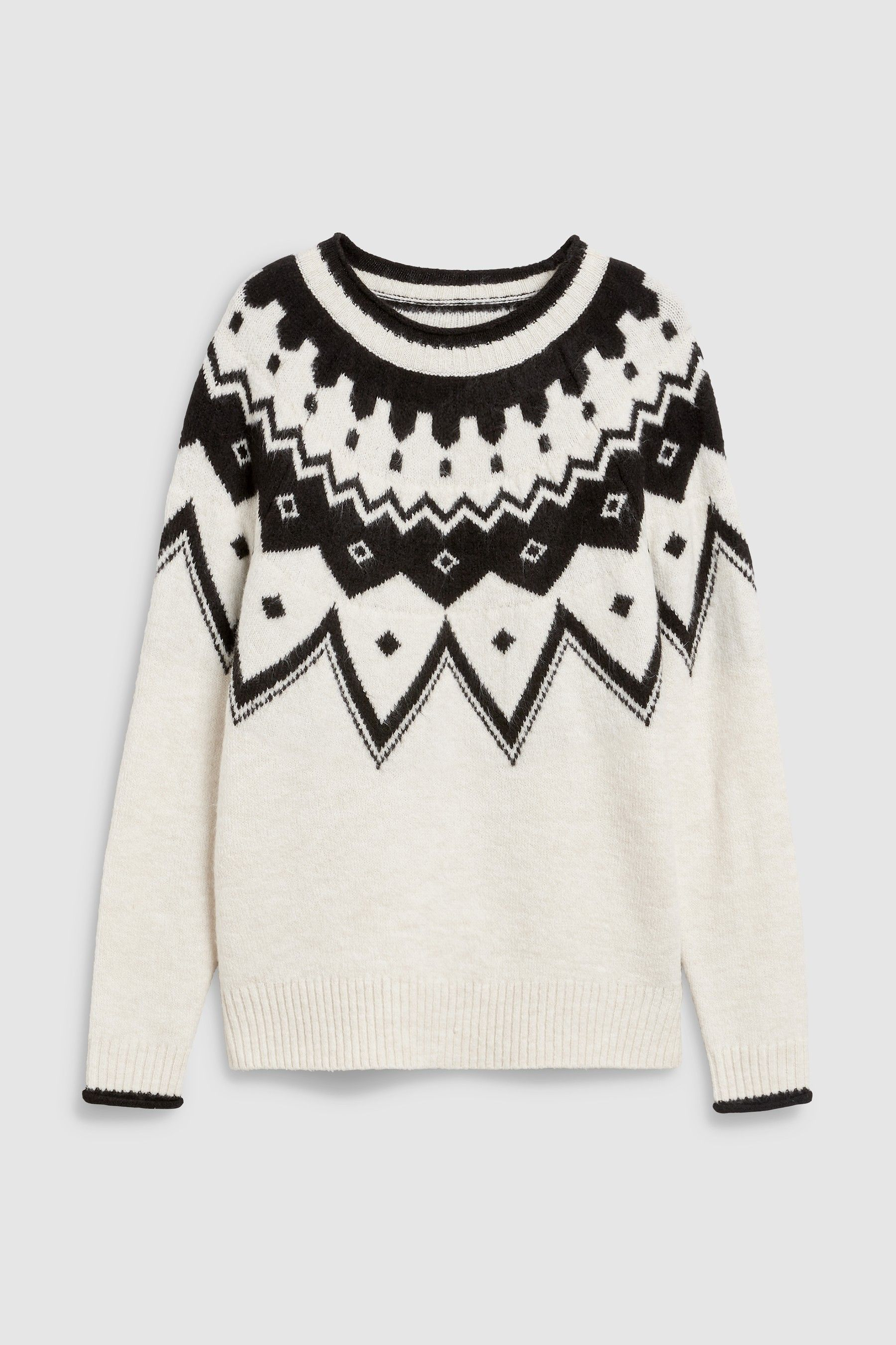 61102880f09 Womens Next Monochrome Fairisle Pattern Sweater - Cream