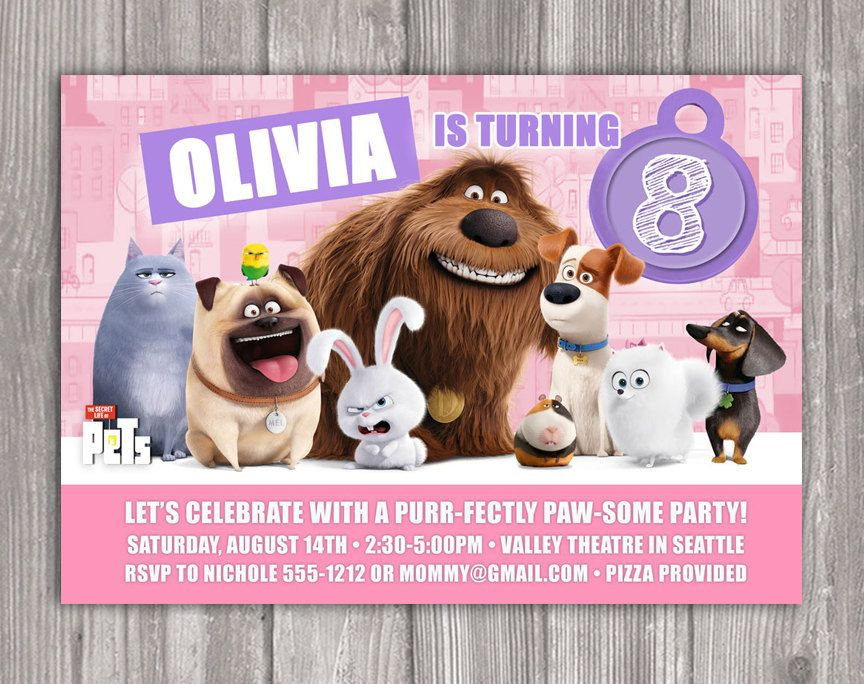 Secret Life Of Pets Invitation For Birthday Party Diy Print Your