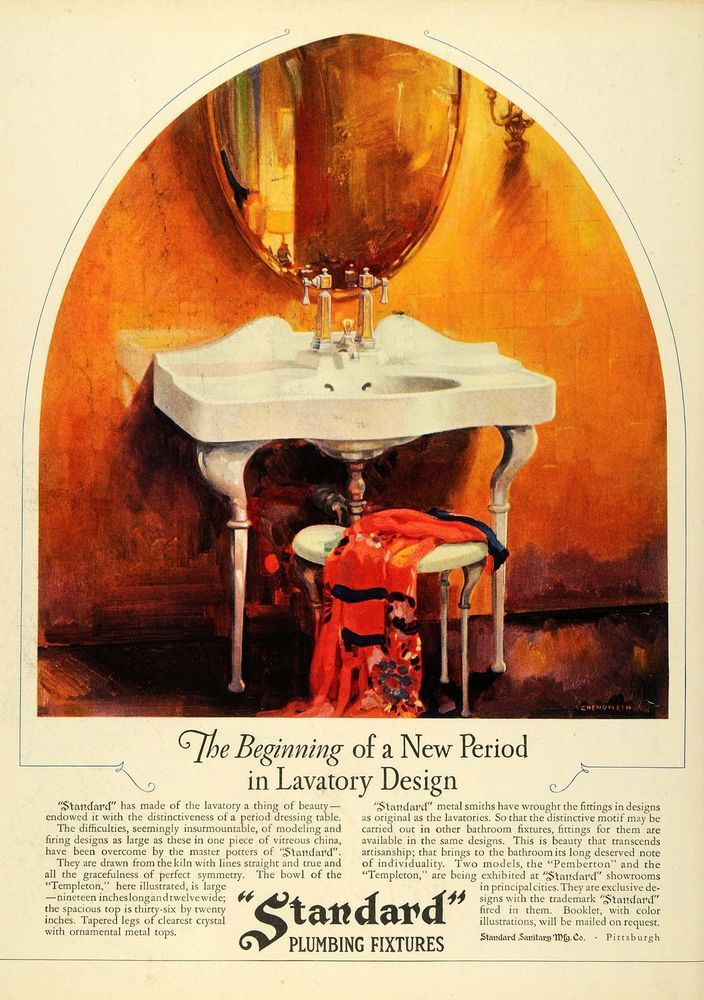 1927 Ad Standard Plumbing Fixtures Sink Bathroom Chenoweth Home Decor Pittsburgh