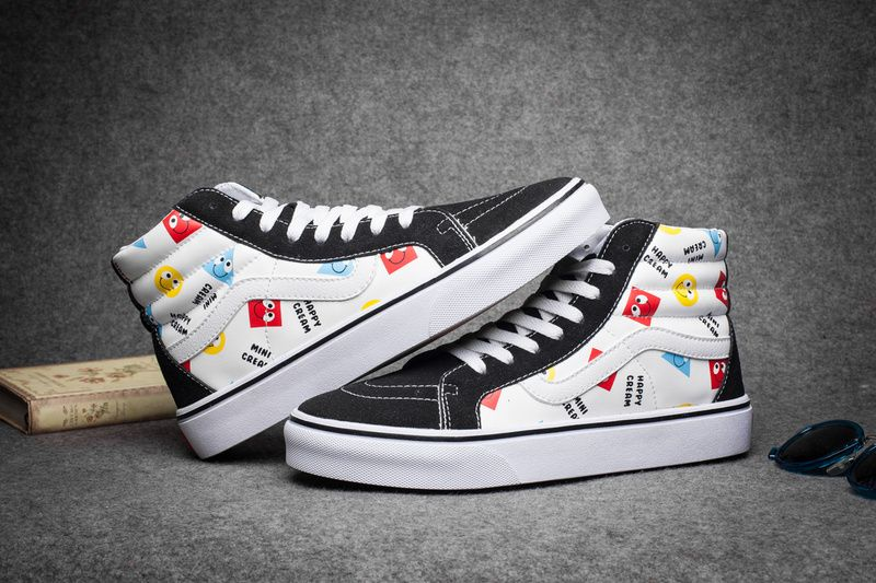 d93e8b736467 Vans classic white shoes leather geometric triangular smiley face high  FS056 35-4415  Vans