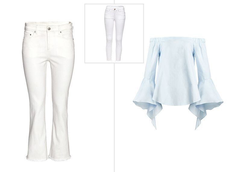 13 Summer Items You Need (Great News: You May Already Have Some!) | People - white pants + off-the-shoulder top