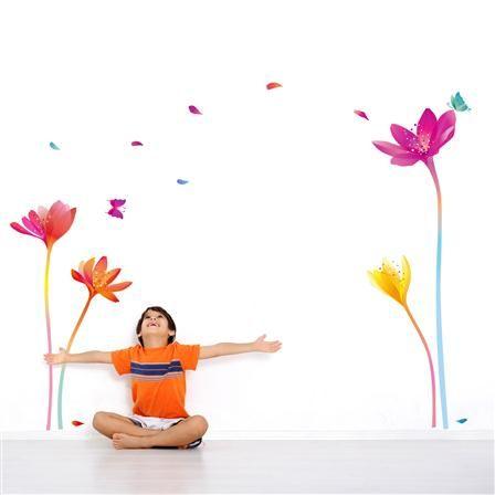 Vinilo Decorativo Flores Arcoiris Multicolor Recámara