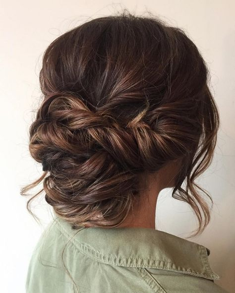 Beautiful braid updo wedding hairstyle for romantic brides | Low ...