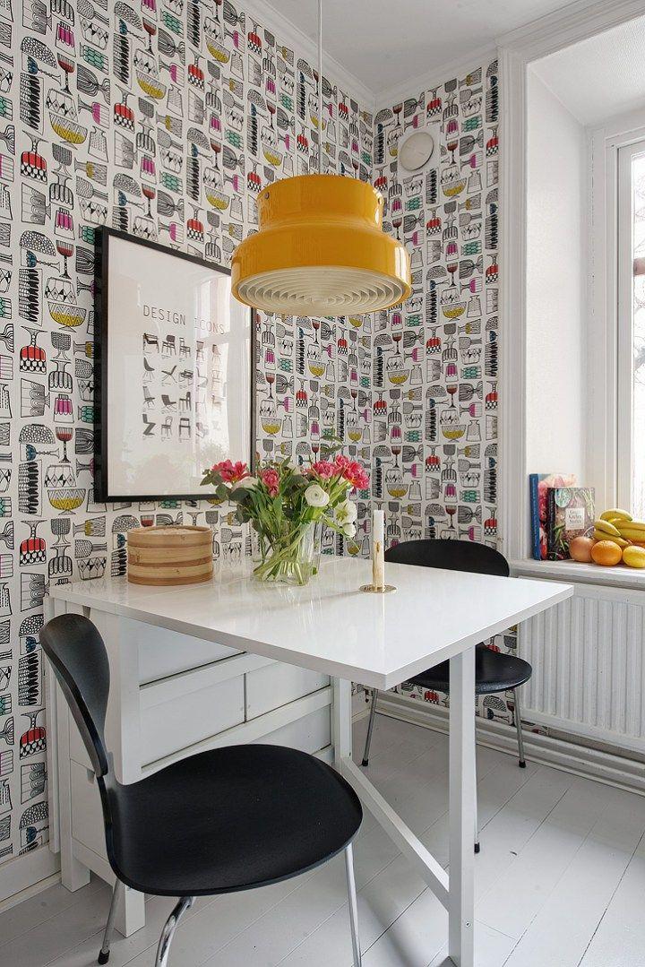 Si al papel de pared pintado en la cocina cocina for Decoracion de paredes modernas
