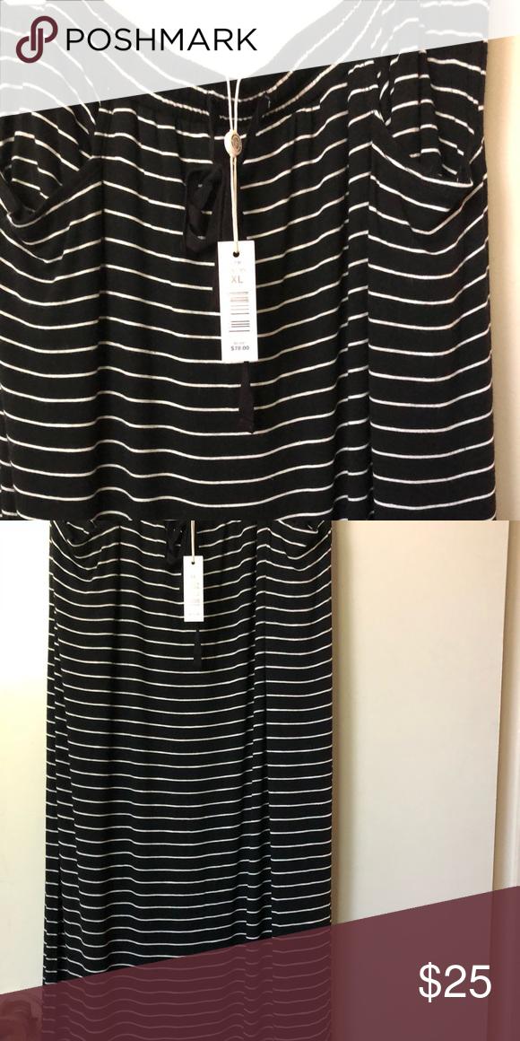 b575e5fa544 Maxi skirt Max Studio long striped black and white skirt Max Studio Skirts  Maxi