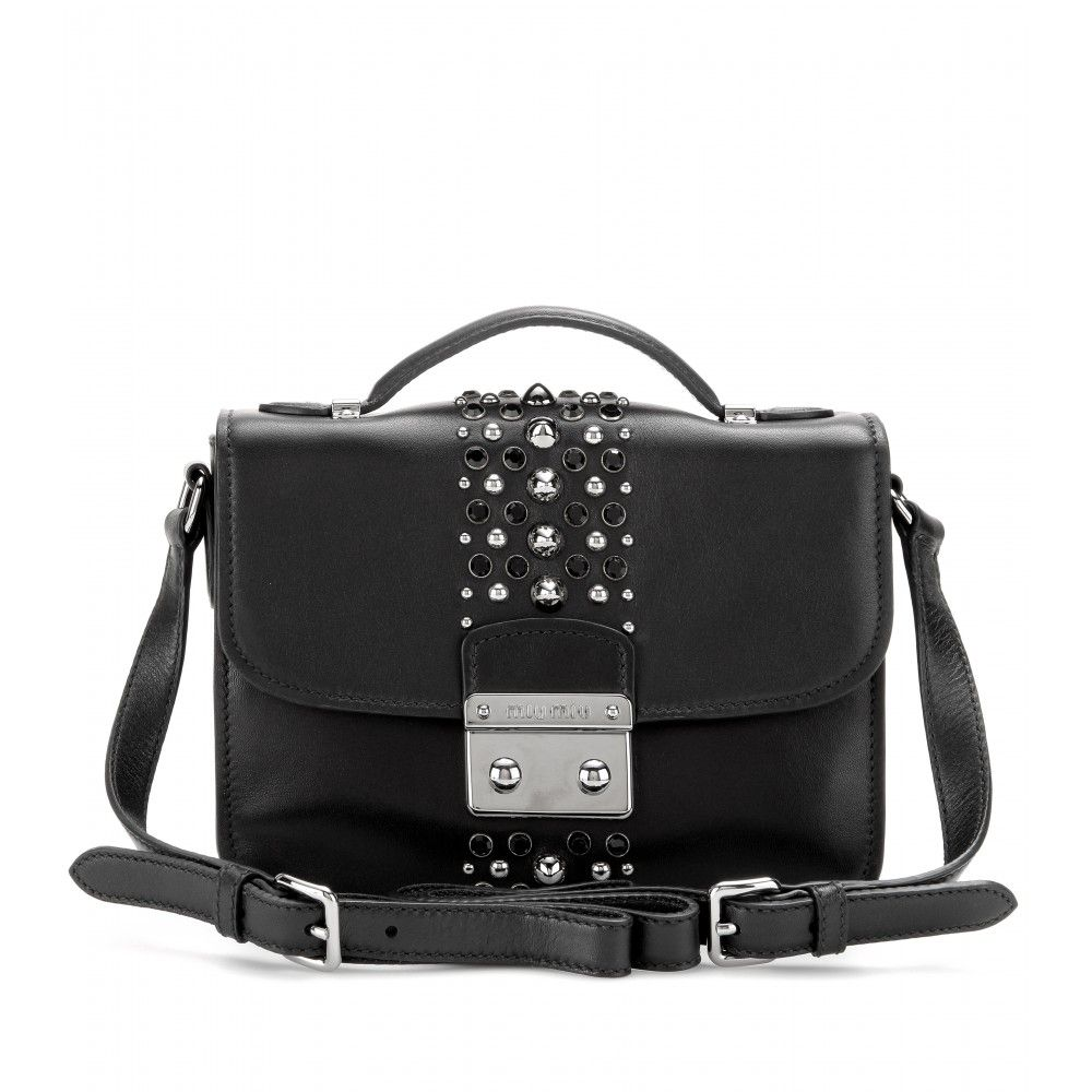 ff1435dc9bb mytheresa.com - Studded leather shoulder bag - Miu Miu   Bags ...