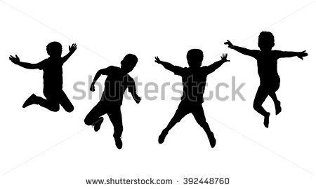 Hy Boys Jumping Holiday Ilration Silhouette Jump Group Of Isolated On White