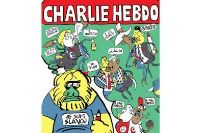 Slovenian philosopher Slavoj Žižek seen by cartoonist Diareja in post-Charlie Hebdo attack Mladina magazine, from Ljubljana.