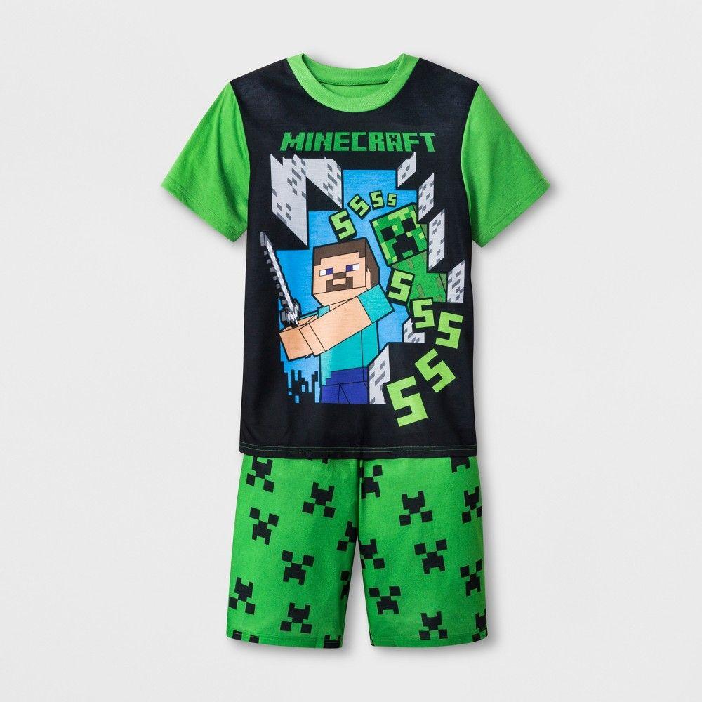 fb7f7d4d Boys' Minecraft 2pc Pajama Set - Green/Black S in 2019 | Products ...