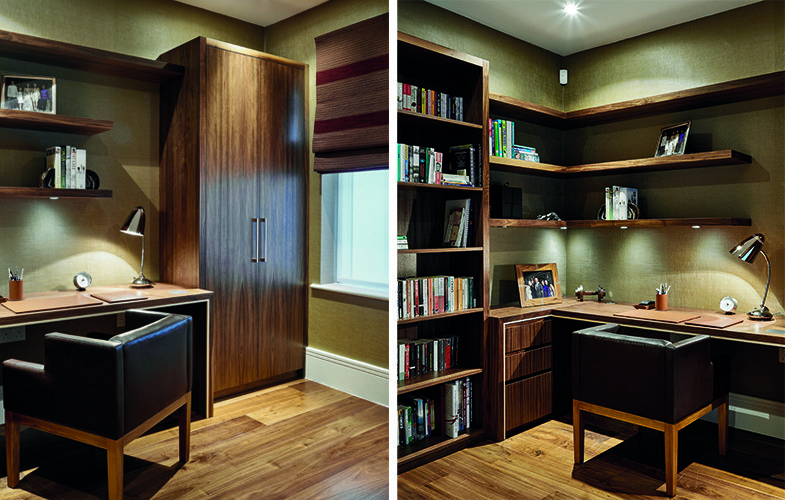 Bespoke home office furniture - retro leather chair design with dark wood  desk, cabinet,