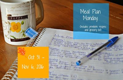 Darcie's Dishes: Meal Plan Monday: 10/31-11/6/16 ~ A one week meal plan that is printable and has a printable shopping list as well. The entire meal plan is 100% Trim Healthy Mama compliant.
