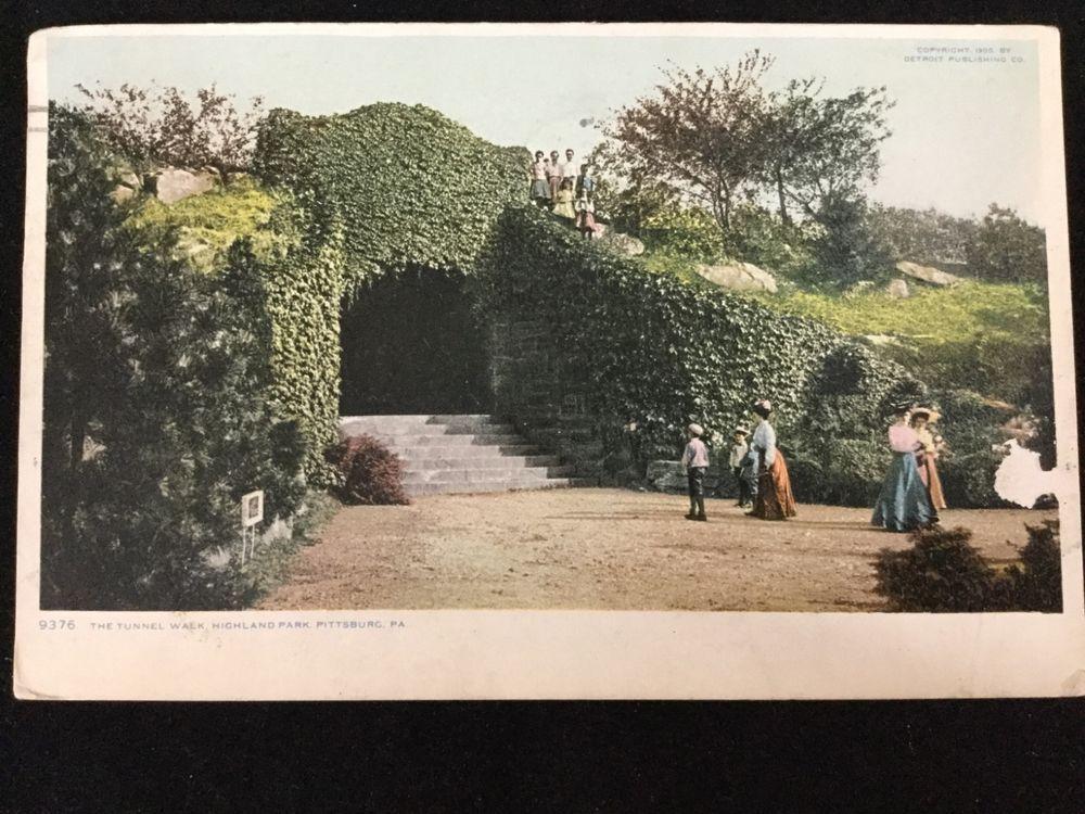 1908 Tunnel Walk, Highland Park, Pittsburgh, PA postcard