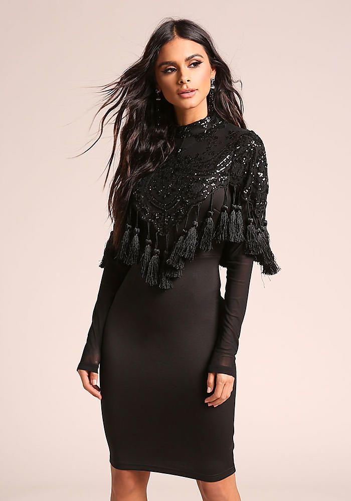 e9f60752d80b5c Black Sequin Tassel Bodycon Dress - New | Love Culture l This Just ...