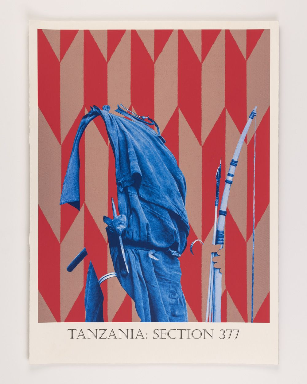 Tanzania: Section 377 - 5 colour screen print on handmade Indian Khadi cotton rag paper.  Signed and numbered Limited edition of 20  'Recording the invisible in Matt Smith's photographic re-enactments' Cecilia Jardemar   These prints were developed for the exhibition 'Losing Venus' at the Pitt Rivers Museum in Oxford. Each print is based on a photograph from the museum's collection. Each photograph was taken in a country where the British imposed or maintained homophobic legislation. Drawing on