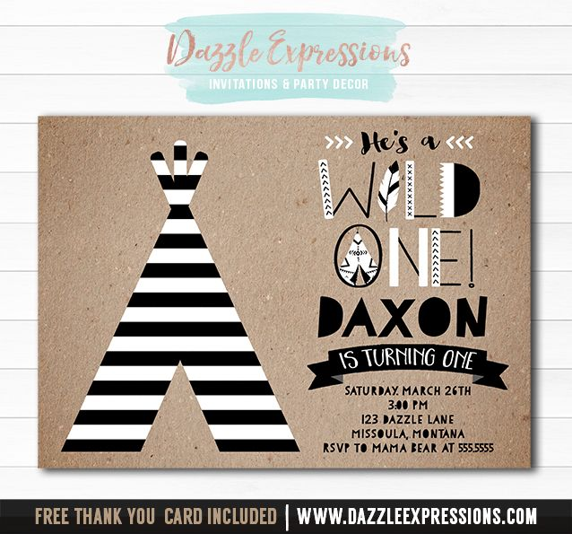 Printable Modern Tribal Wild One Birthday Invitation