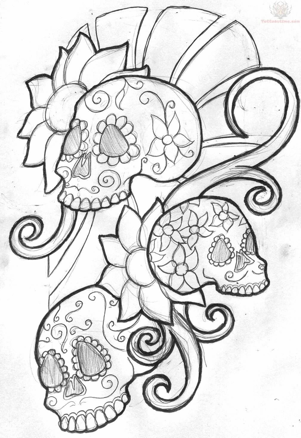 Simple skull tattoo designs - Mexican Sugar Skull Tattoo Design Soo Want This On My Upper Arm
