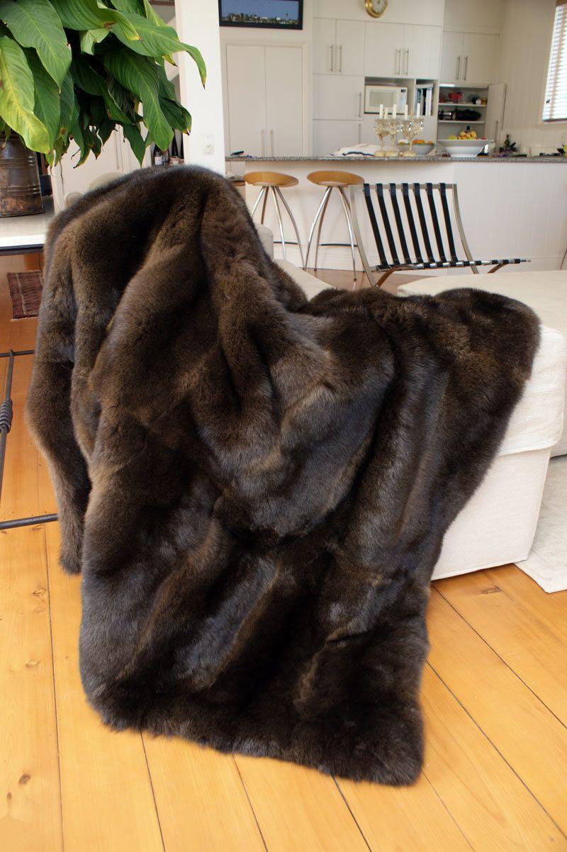 Chocolate Brown Nz Possum Fur Throw Blanket Www Gorgeouscreatures Co