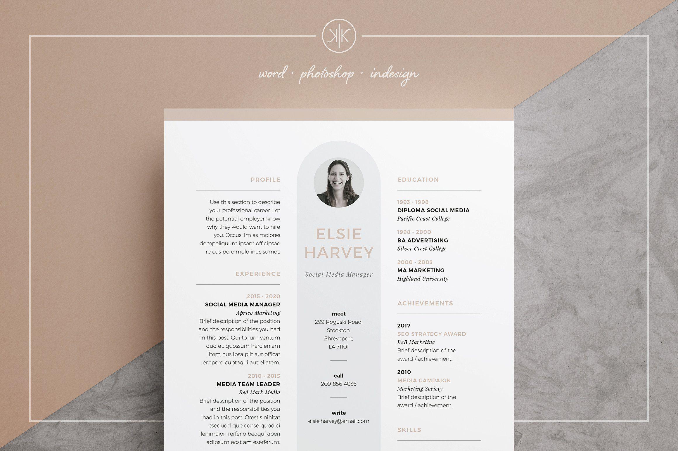 resume cv elsie fonts including editable move design art resume