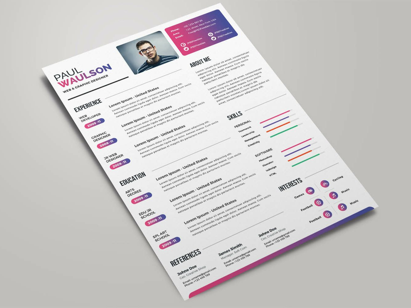 Free colorful resume template resume design template