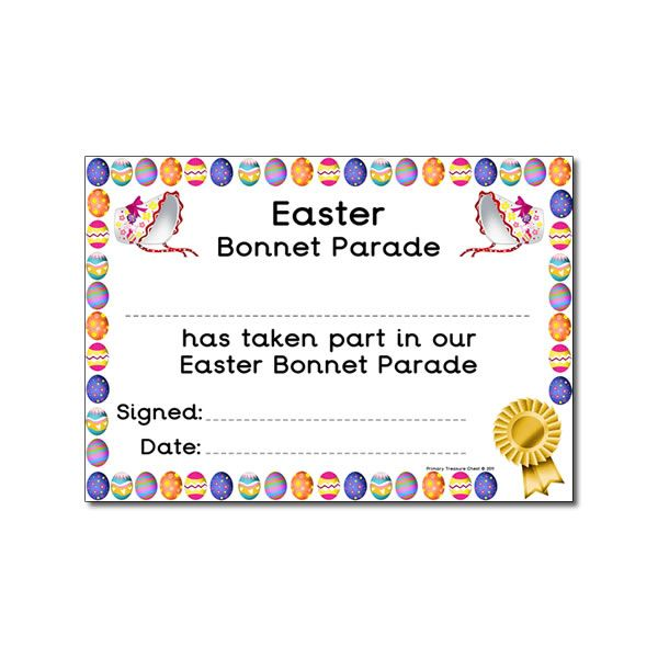 certificates easter certificate bonnet parade printable template bunny bonnets posters teaching awards visit resources award