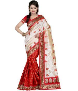 Janasya Art Silk Off White-red Party Wear Saree