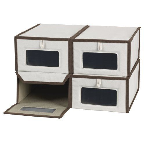 Household Essentials Set of Four Small Shoe Storage Boxes, Natural Canvas with Brown Trim by Household Essentials. $38.39. Keeps shoes protected and organized. Can be used for other storage needs. Measures 5 h by 8 w by 13 d-inch. Constructed of durable poly-cotton canvas. The see-through front panel window allows you to view box's contents. Ladies and Gentlemen, give your shoes their own home with this durable and attractive box, where they stay protected from di...