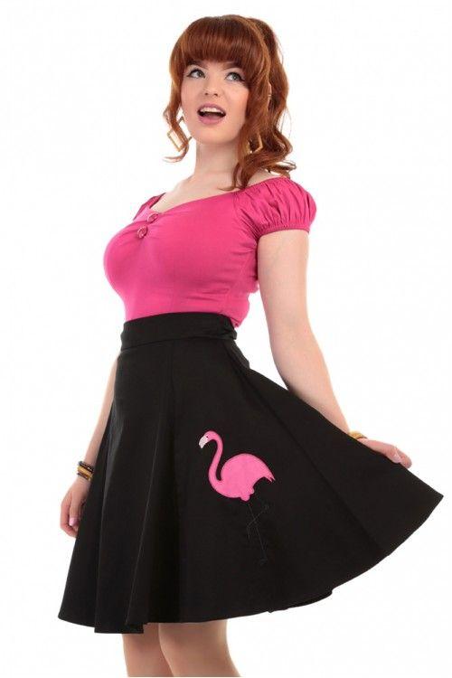 e30c5635190 Collectif Rockabilly Tammy Flamingo Swing Skirt Black