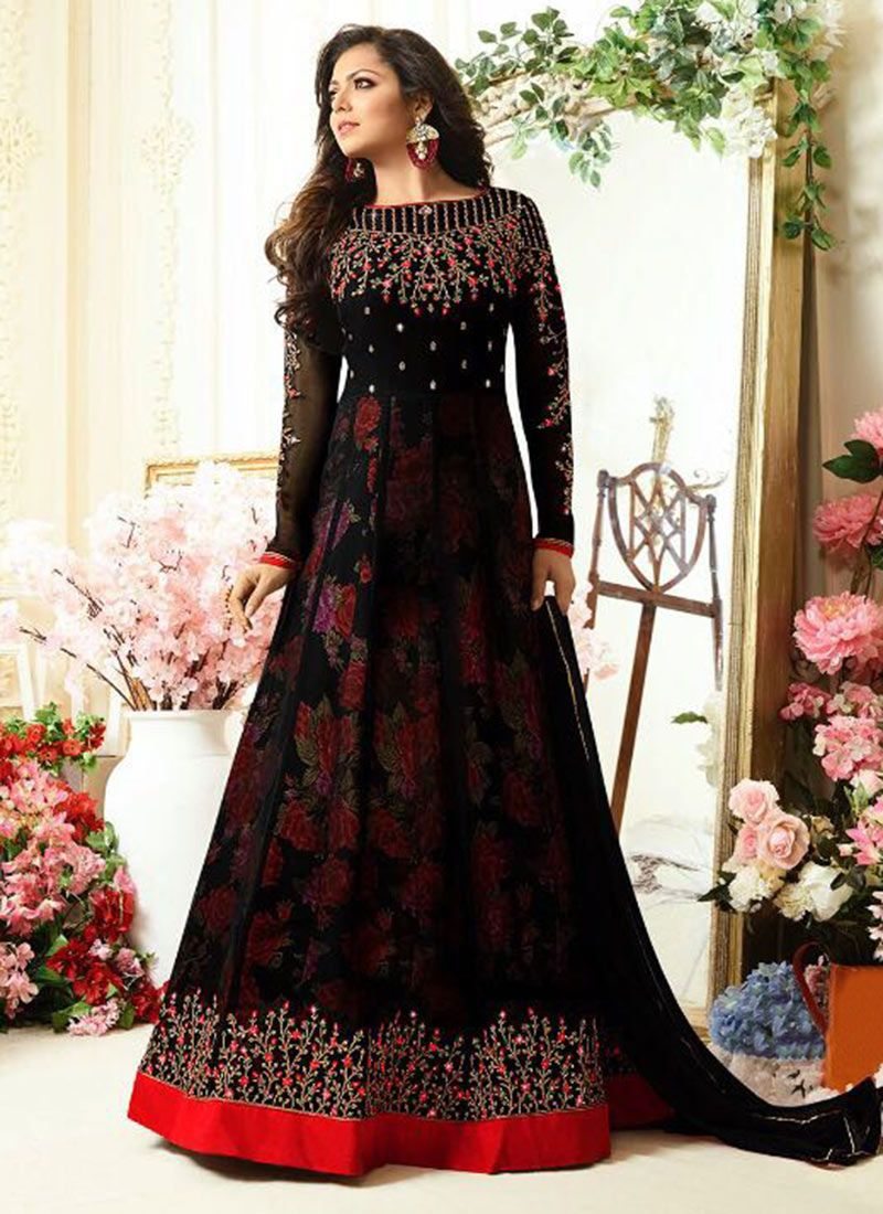 2d67f32a92 Buy Drashti Dhami Black Georgette Anarkali Suit online, SKU Code:  SLSCCLT11003. This Black color Party anarkali suit for Women comes with  Stones Faux ...