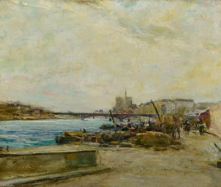 """""""View across the River Seine,"""" Chauncy Foster Ryder, oil"""