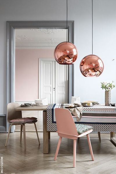 Copper accents look great with white and soft grey - nice lighting idea for dining room