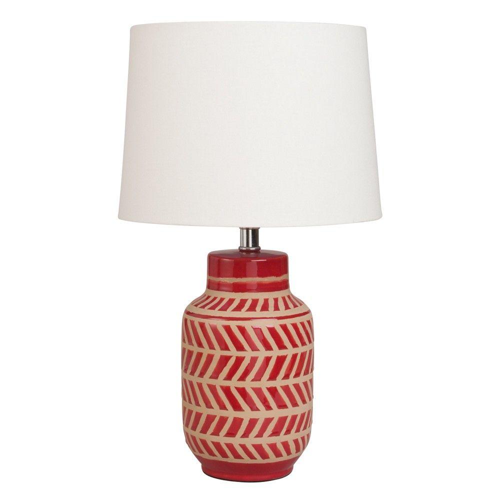 Lampe En Ceramique Rouge A Motifs Blancs Maisons Du Monde