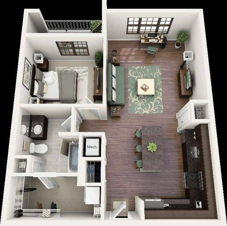 One Bedroom Apartment Plans And Designs Extraordinary 13466297_635597919931466_4468282649235462825_N 728×726 Inspiration