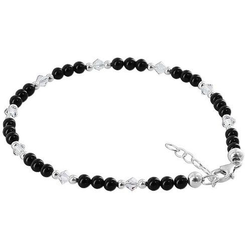 pin to sterling crystal onyx elements anklet beads bracelets swarovski adjustable bracelet inch ankle black with silver
