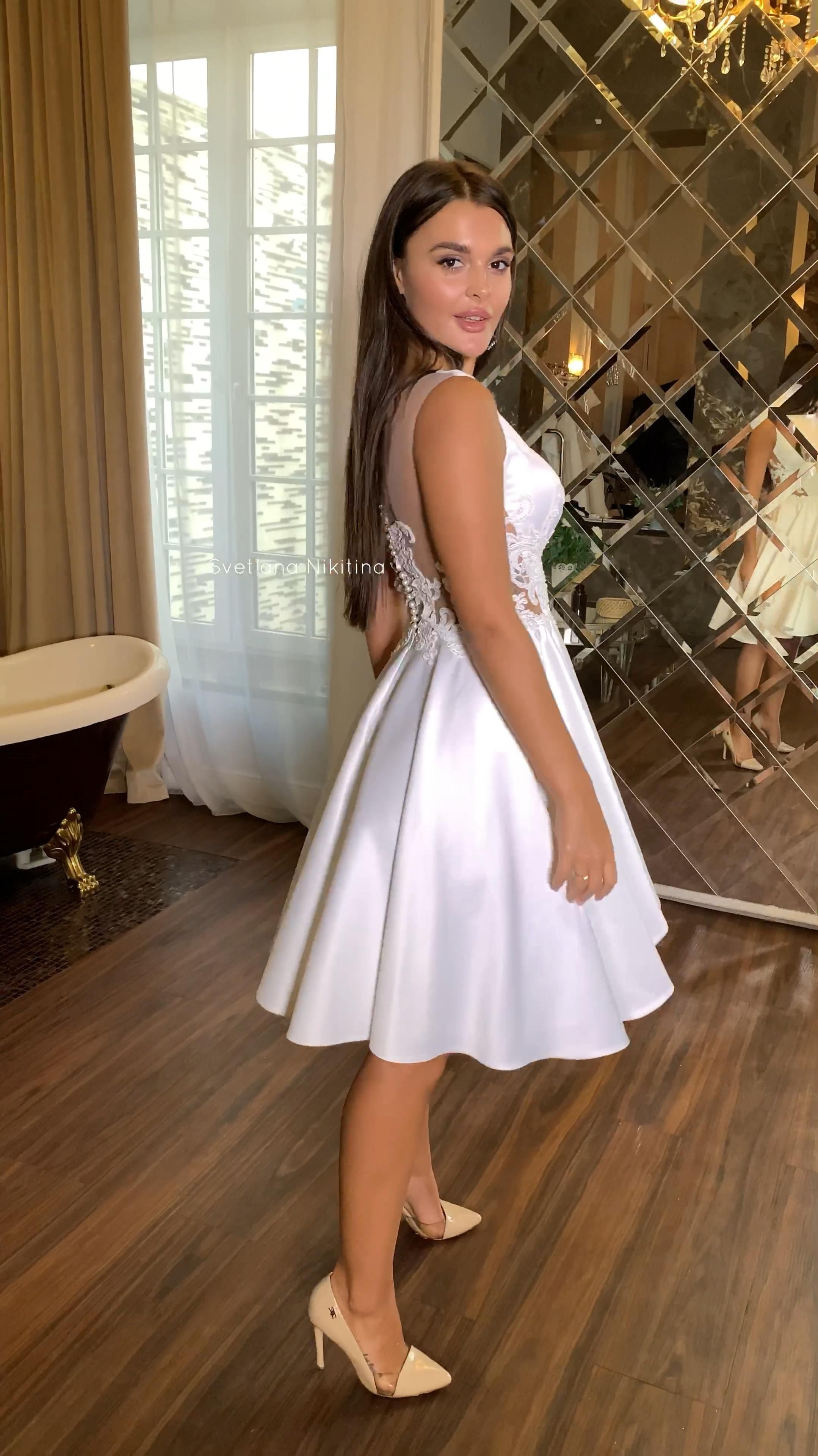 Short wedding gown Satin bridal dress Boat neck Backless with buttons and lace Knee lenght Custom wedding gown Simple wedding dress