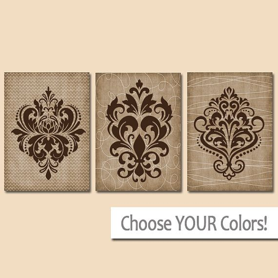 Damask Wall Art Canvas Or Prints Brown Bathroom Decor Brown