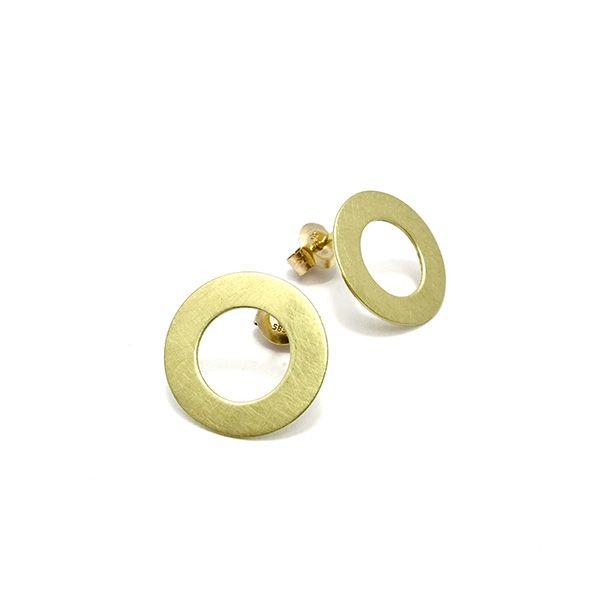 Goud - geel gouden oorknoppen 'Open Cirkel' - Annexs juwelier goudsmid Utrecht