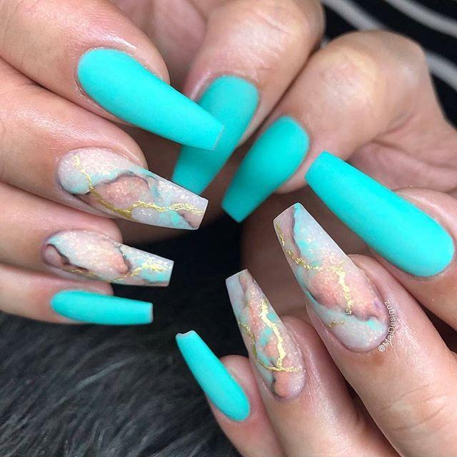 Nails Love The Color Choices Matte Aqua And Marble Teal Acrylic Nails Aqua Nails Swag Nails