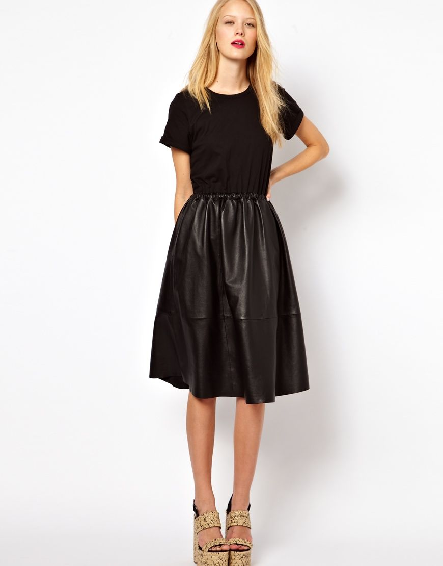 0f9f16cc337dd Leather midi skirt and jersey top as a full dress! Description from  pinterest.com. I searched for this on bing.com/images